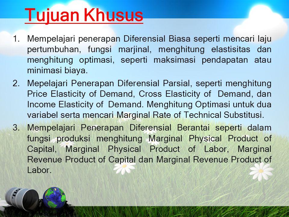 Contoh : Memaksimasi Marginal Pendapatan (Marginal Revenue) Harga jual barang P = 16 - 2Q, tentukan berapa output yang harus diproduksi dan dijual agar diperoleh marginal pendapatan maksimum.