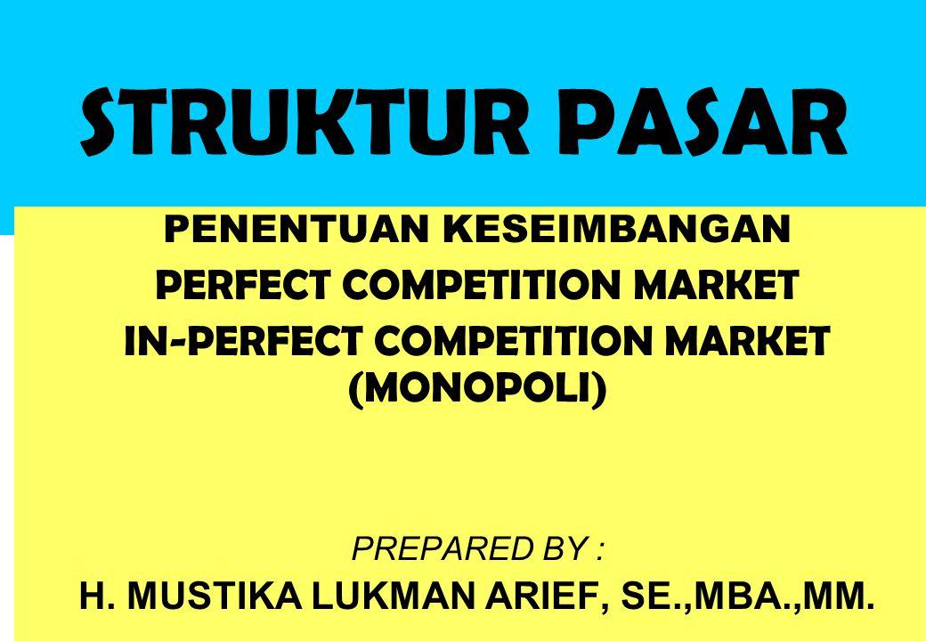 STRUKTUR PASAR PENENTUAN KESEIMBANGAN PERFECT COMPETITION MARKET IN-PERFECT COMPETITION MARKET (MONOPOLI) PREPARED BY : H. MUSTIKA LUKMAN ARIEF, SE.,M