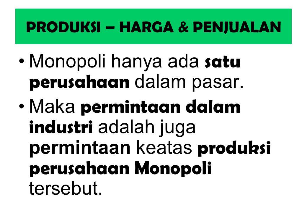 PRODUKSI – HARGA & PENJUALAN Monopoli hanya ada satu perusahaan dalam pasar. Maka permintaan dalam industri adalah juga permintaan keatas produksi per