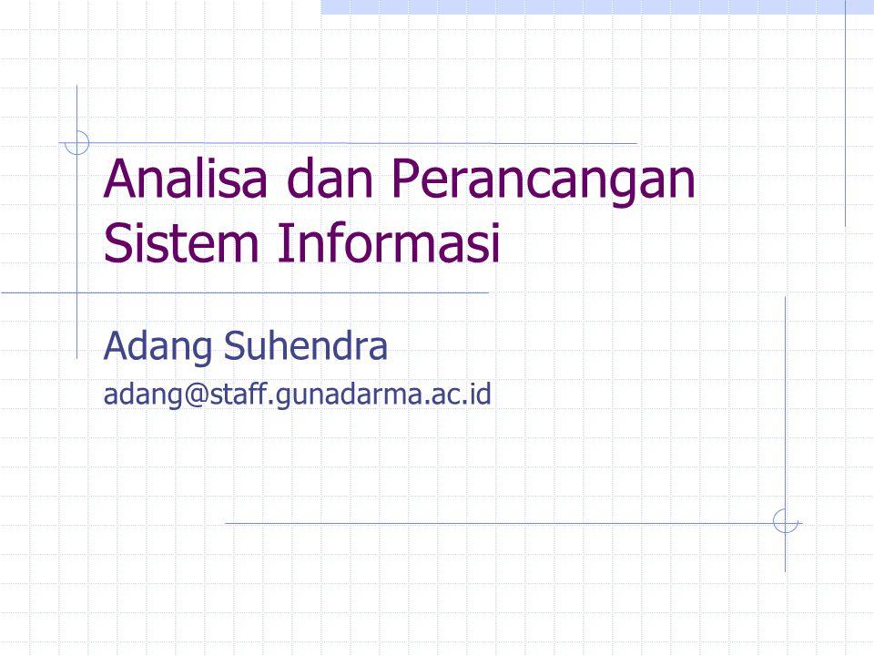 Analisa dan Perancangan Sistem Informasi Adang Suhendra adang@staff.gunadarma.ac.id