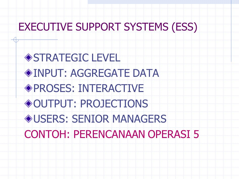 EXECUTIVE SUPPORT SYSTEMS (ESS) STRATEGIC LEVEL INPUT: AGGREGATE DATA PROSES: INTERACTIVE OUTPUT: PROJECTIONS USERS: SENIOR MANAGERS CONTOH: PERENCANA