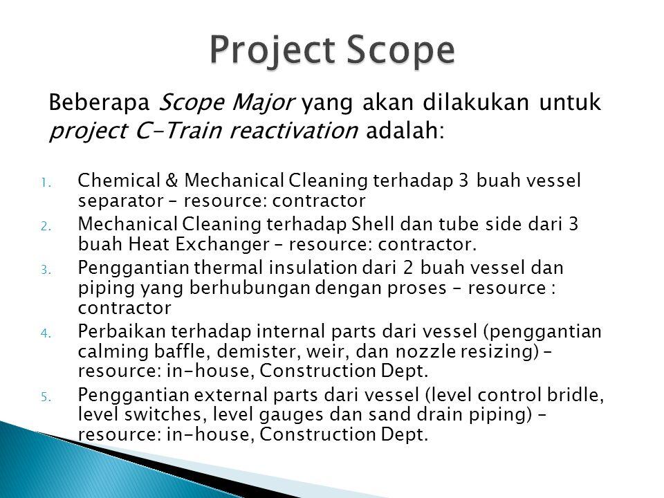 Beberapa Scope Major yang akan dilakukan untuk project C-Train reactivation adalah: 1. Chemical & Mechanical Cleaning terhadap 3 buah vessel separator