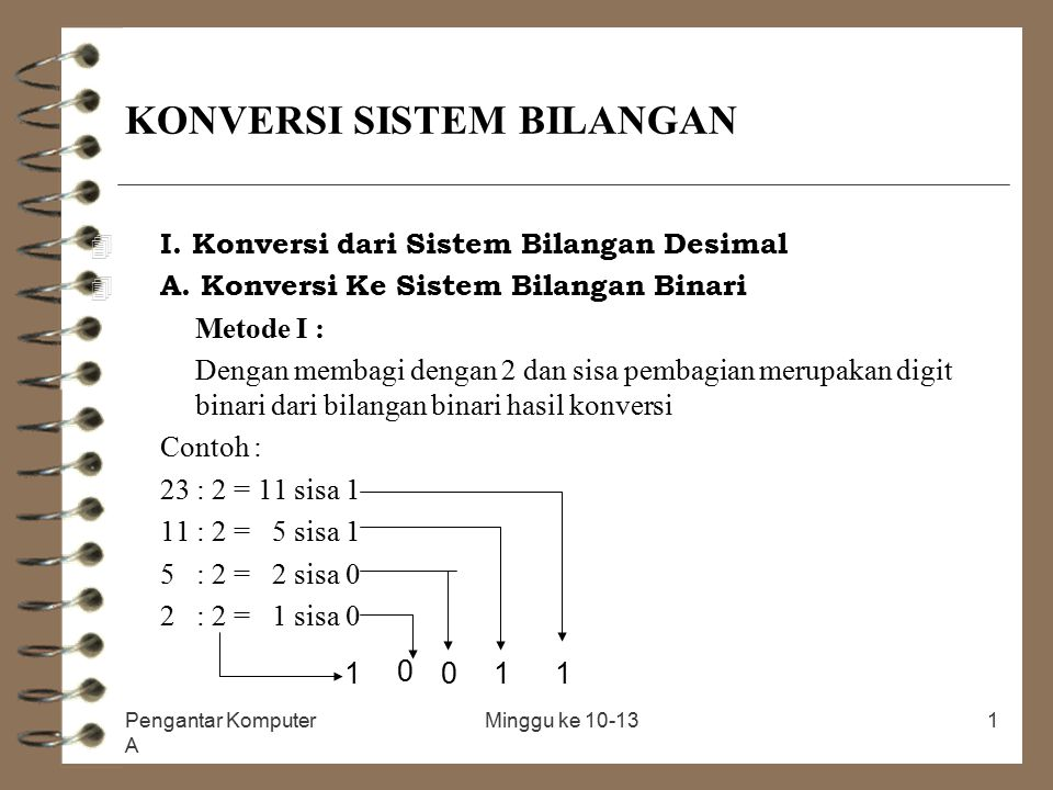 Pengantar Komputer A Minggu ke 10-131 KONVERSI SISTEM BILANGAN 4 I. Konversi dari Sistem Bilangan Desimal 4 A. Konversi Ke Sistem Bilangan Binari Meto