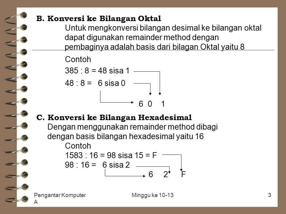 Pengantar Komputer A Minggu ke 10-133 B. Konversi ke Bilangan Oktal Untuk mengkonversi bilangan desimal ke bilangan oktal dapat digunakan remainder me