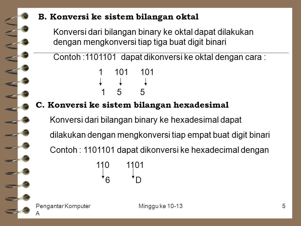 Pengantar Komputer A Minggu ke 10-135 B. Konversi ke sistem bilangan oktal Konversi dari bilangan binary ke oktal dapat dilakukan dengan mengkonversi