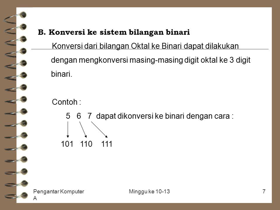 Pengantar Komputer A Minggu ke 10-137 B. Konversi ke sistem bilangan binari Konversi dari bilangan Oktal ke Binari dapat dilakukan dengan mengkonversi