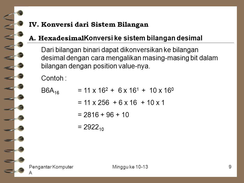Pengantar Komputer A Minggu ke 10-139 IV. Konversi dari Sistem Bilangan A. Hexadesimal Konversi ke sistem bilangan desimal Dari bilangan binari dapat