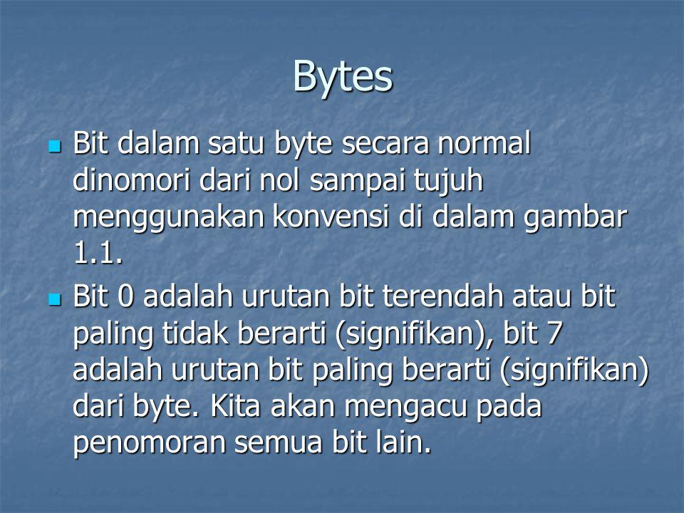 Bytes Bit dalam satu byte secara normal dinomori dari nol sampai tujuh menggunakan konvensi di dalam gambar 1.1. Bit dalam satu byte secara normal din