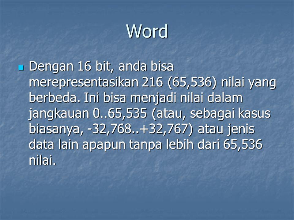 Word Dengan 16 bit, anda bisa merepresentasikan 216 (65,536) nilai yang berbeda. Ini bisa menjadi nilai dalam jangkauan 0..65,535 (atau, sebagai kasus