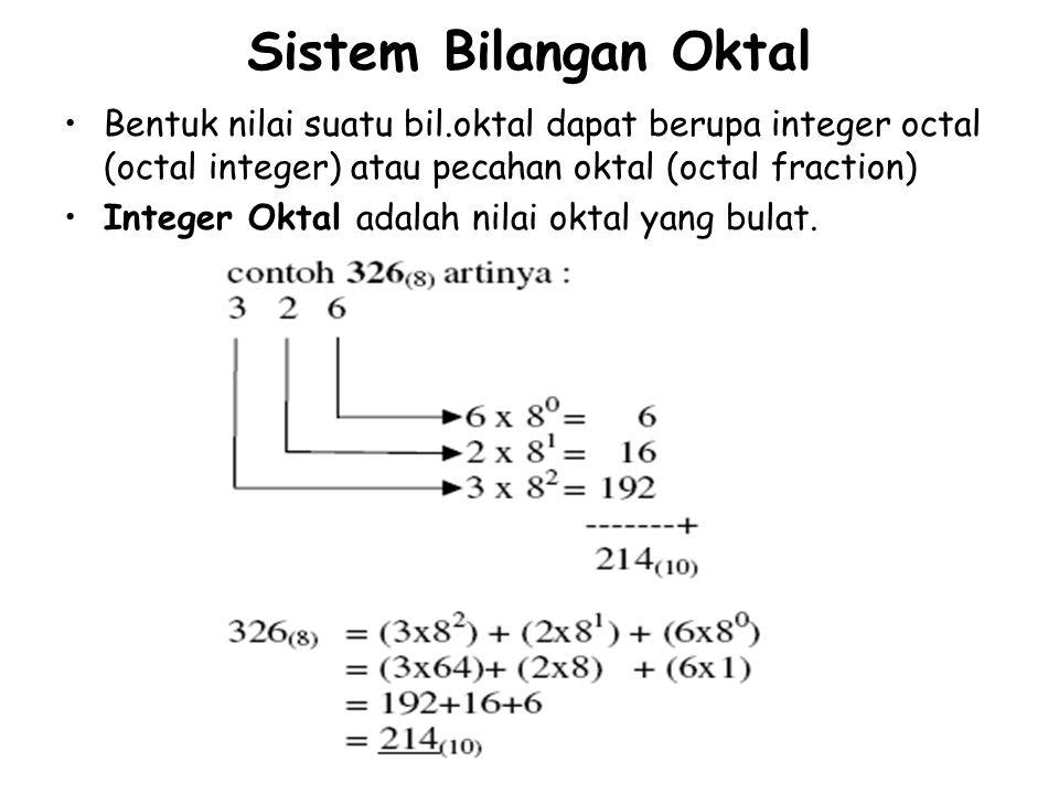 Sistem Bilangan Oktal Bentuk nilai suatu bil.oktal dapat berupa integer octal (octal integer) atau pecahan oktal (octal fraction) Integer Oktal adalah