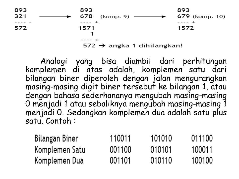 Analogi yang bisa diambil dari perhitungan komplemen di atas adalah, komplemen satu dari bilangan biner diperoleh dengan jalan mengurangkan masing-mas