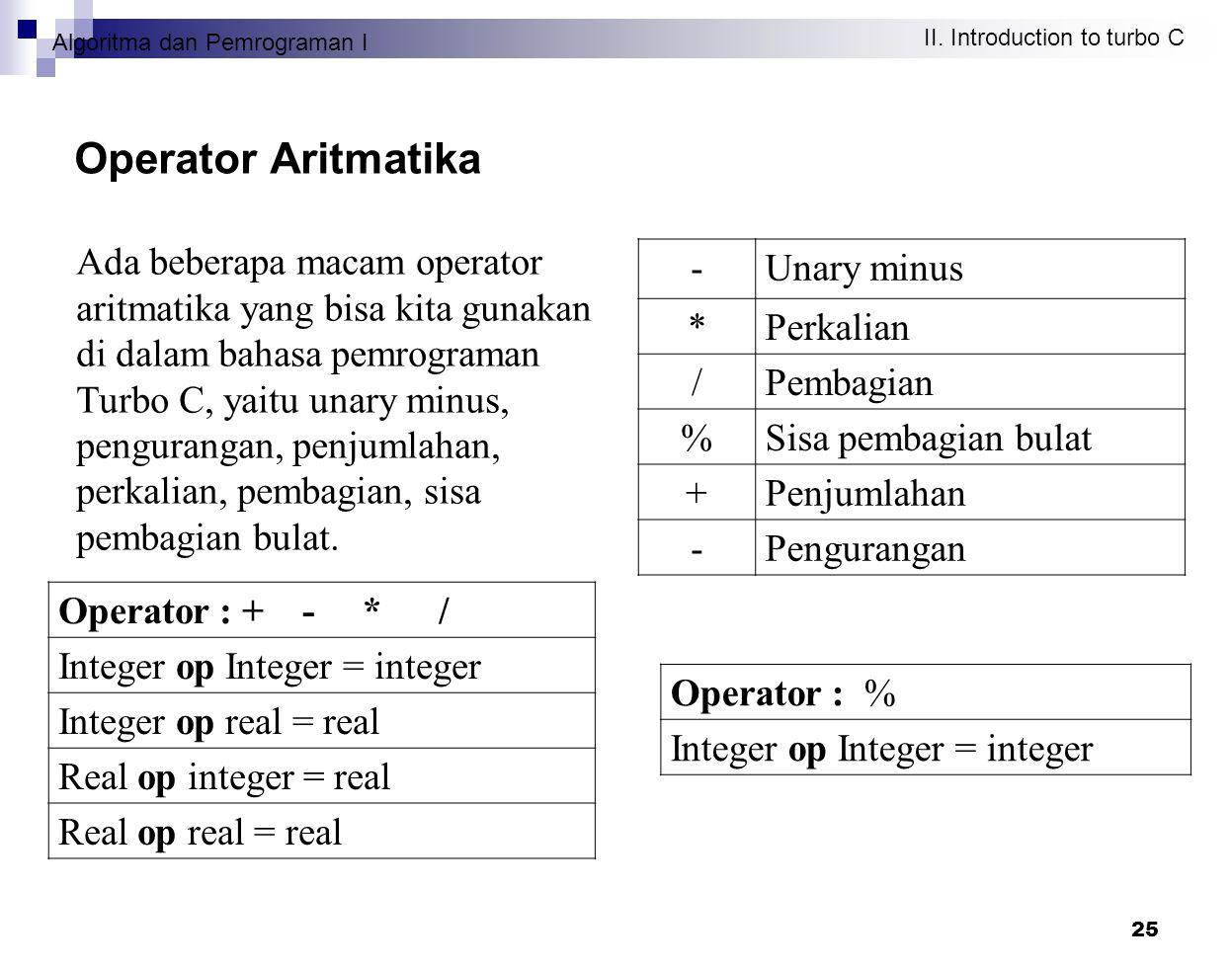 Algoritma dan Pemrograman I II. Introduction to turbo C 25 Operator Aritmatika Ada beberapa macam operator aritmatika yang bisa kita gunakan di dalam