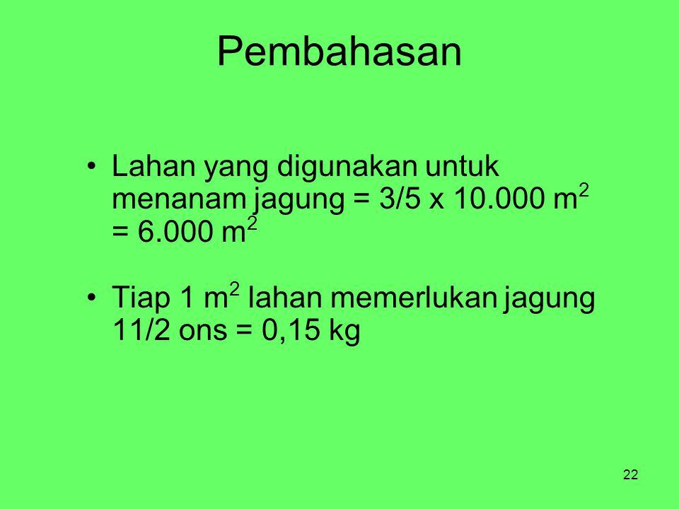 22 Pembahasan Lahan yang digunakan untuk menanam jagung = 3/5 x 10.000 m 2 = 6.000 m 2 Tiap 1 m 2 lahan memerlukan jagung 11/2 ons = 0,15 kg