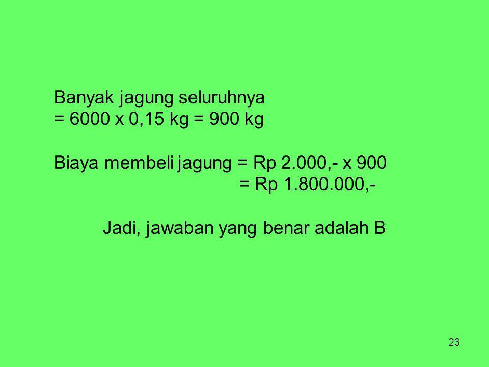 23 Banyak jagung seluruhnya = 6000 x 0,15 kg = 900 kg Biaya membeli jagung = Rp 2.000,- x 900 = Rp 1.800.000,- Jadi, jawaban yang benar adalah B