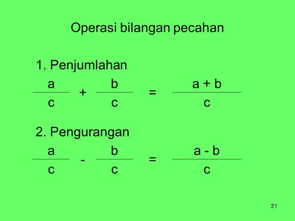31 Operasi bilangan pecahan 1. Penjumlahan a + b = a + b ccc 2. Pengurangan a - b = a - b ccc