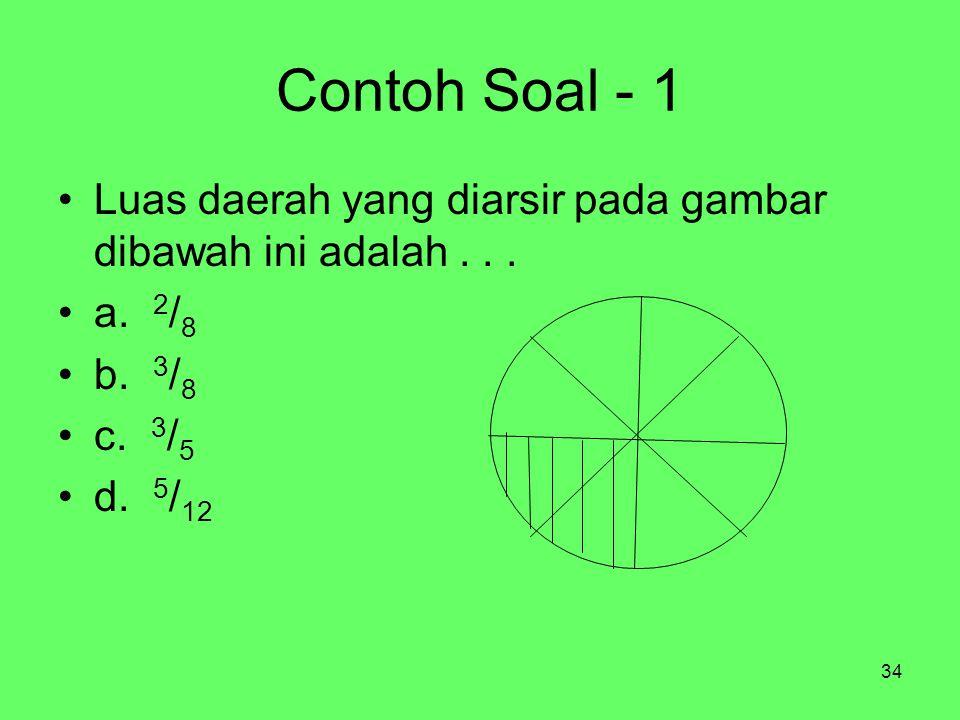 34 Contoh Soal - 1 Luas daerah yang diarsir pada gambar dibawah ini adalah... a. 2 / 8 b. 3 / 8 c. 3 / 5 d. 5 / 12