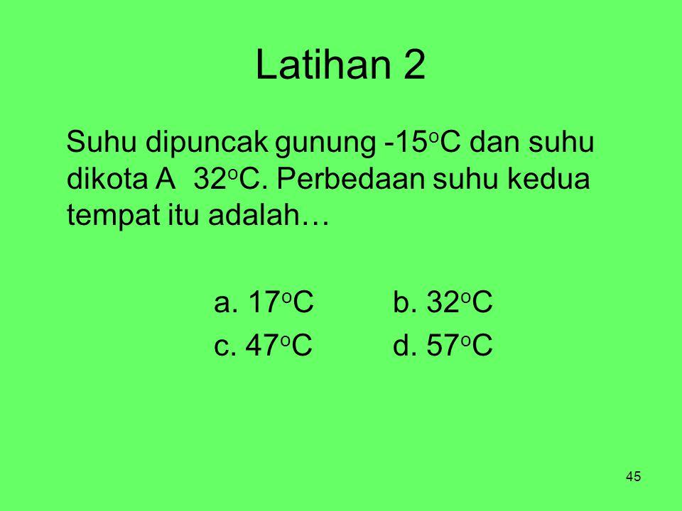 45 Latihan 2 Suhu dipuncak gunung -15 o C dan suhu dikota A 32 o C. Perbedaan suhu kedua tempat itu adalah… a. 17 o Cb. 32 o C c. 47 o Cd. 57 o C