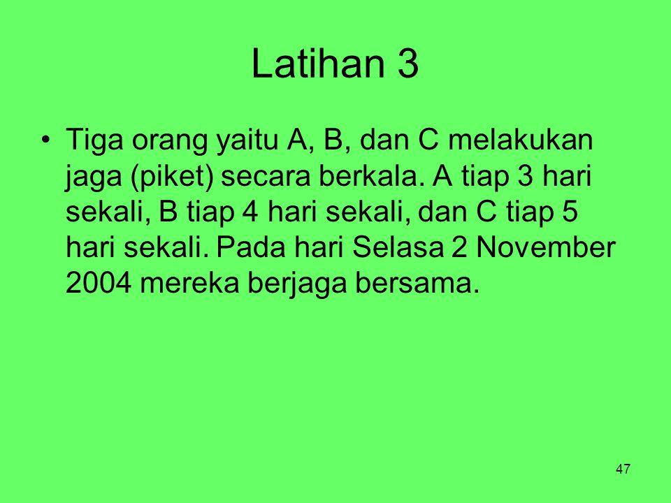 47 Latihan 3 Tiga orang yaitu A, B, dan C melakukan jaga (piket) secara berkala. A tiap 3 hari sekali, B tiap 4 hari sekali, dan C tiap 5 hari sekali.