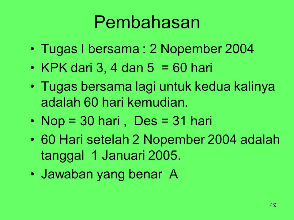 49 Pembahasan Tugas I bersama : 2 Nopember 2004 KPK dari 3, 4 dan 5 = 60 hari Tugas bersama lagi untuk kedua kalinya adalah 60 hari kemudian. Nop = 30