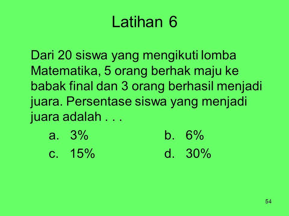 54 Latihan 6 Dari 20 siswa yang mengikuti lomba Matematika, 5 orang berhak maju ke babak final dan 3 orang berhasil menjadi juara. Persentase siswa ya