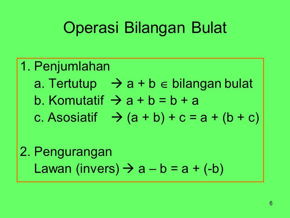 6 Operasi Bilangan Bulat 1. Penjumlahan a. Tertutup  a + b  bilangan bulat b. Komutatif  a + b = b + a c. Asosiatif  (a + b) + c = a + (b + c) 2.