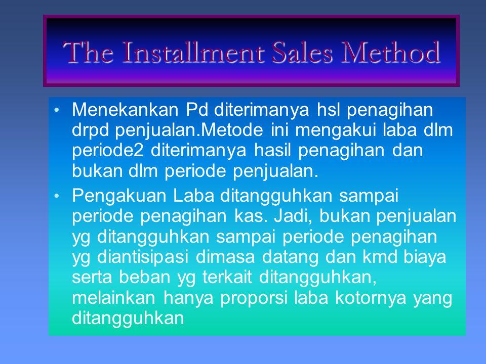 Menekankan Pd diterimanya hsl penagihan drpd penjualan.Metode ini mengakui laba dlm periode2 diterimanya hasil penagihan dan bukan dlm periode penjual