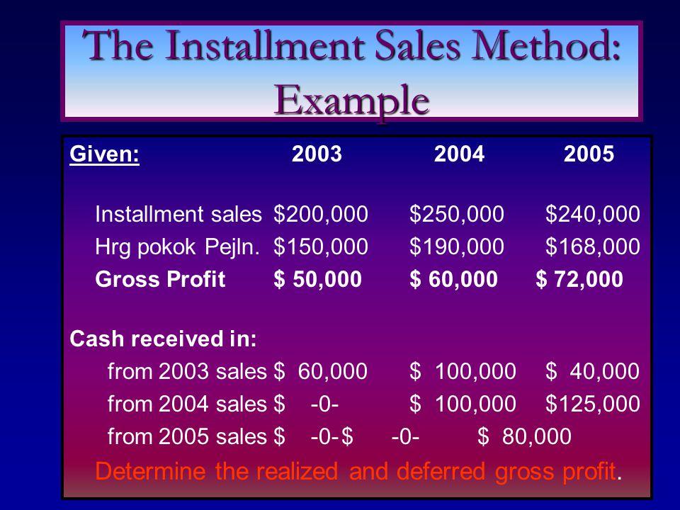 Given: 2003 2004 2005 Installment sales$200,000$250,000$240,000 Hrg pokok Pejln.$150,000$190,000$168,000 Gross Profit$ 50,000$ 60,000 $ 72,000 Cash re