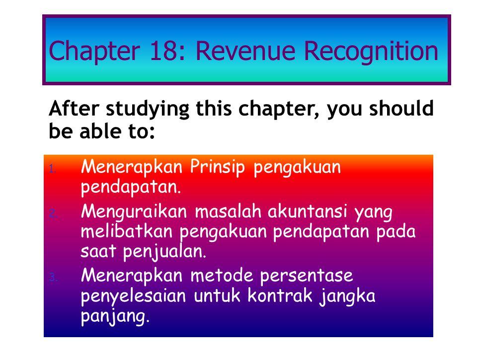 1. Menerapkan Prinsip pengakuan pendapatan. 2. Menguraikan masalah akuntansi yang melibatkan pengakuan pendapatan pada saat penjualan. 3. Menerapkan m