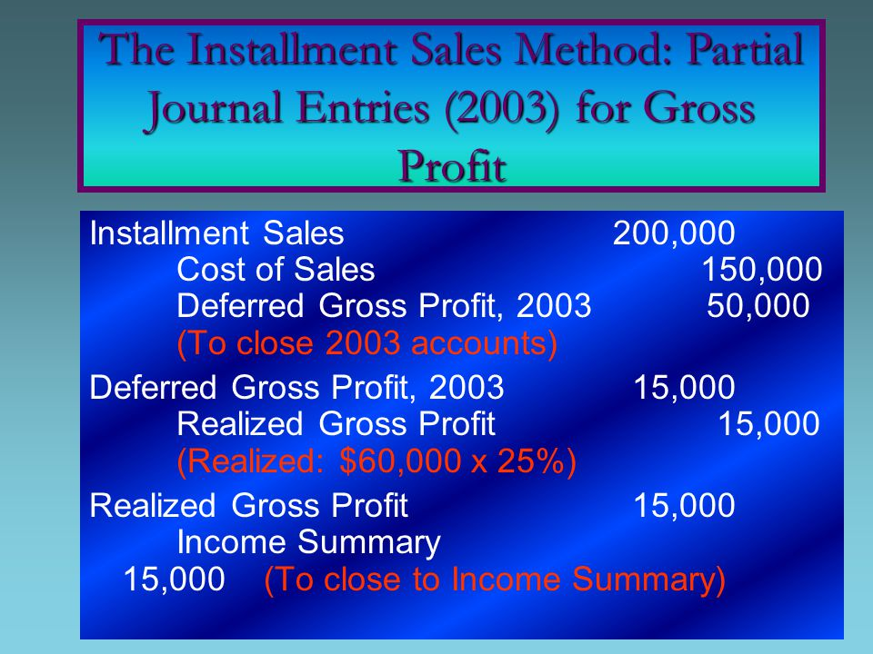 Installment Sales 200,000 Cost of Sales 150,000 Deferred Gross Profit, 2003 50,000 (To close 2003 accounts) Deferred Gross Profit, 2003 15,000 Realized Gross Profit 15,000 (Realized: $60,000 x 25%) Realized Gross Profit 15,000 Income Summary 15,000(To close to Income Summary) The Installment Sales Method: Partial Journal Entries (2003) for Gross Profit
