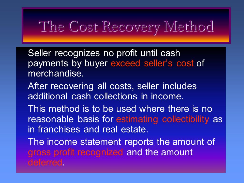 Seller recognizes no profit until cash payments by buyer exceed seller's cost of merchandise. After recovering all costs, seller includes additional c