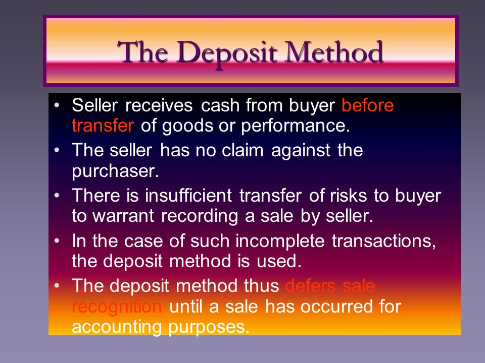 Seller receives cash from buyer before transfer of goods or performance. The seller has no claim against the purchaser. There is insufficient transfer