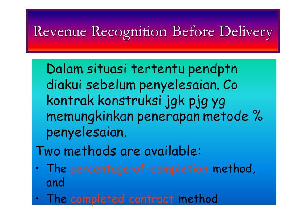 Long-Term Construction Accounting Methods 1)Menetapkan hak2 yg dpt dipaksakan antara 2 pihak 2) Pembeli dpt diharapkan memenuhi semua kewajib 3) Kontraktor diharapkan dpt memenuhi semua kewajib 1)Syarat metode % penyele- seaian tdk terpenuhi.
