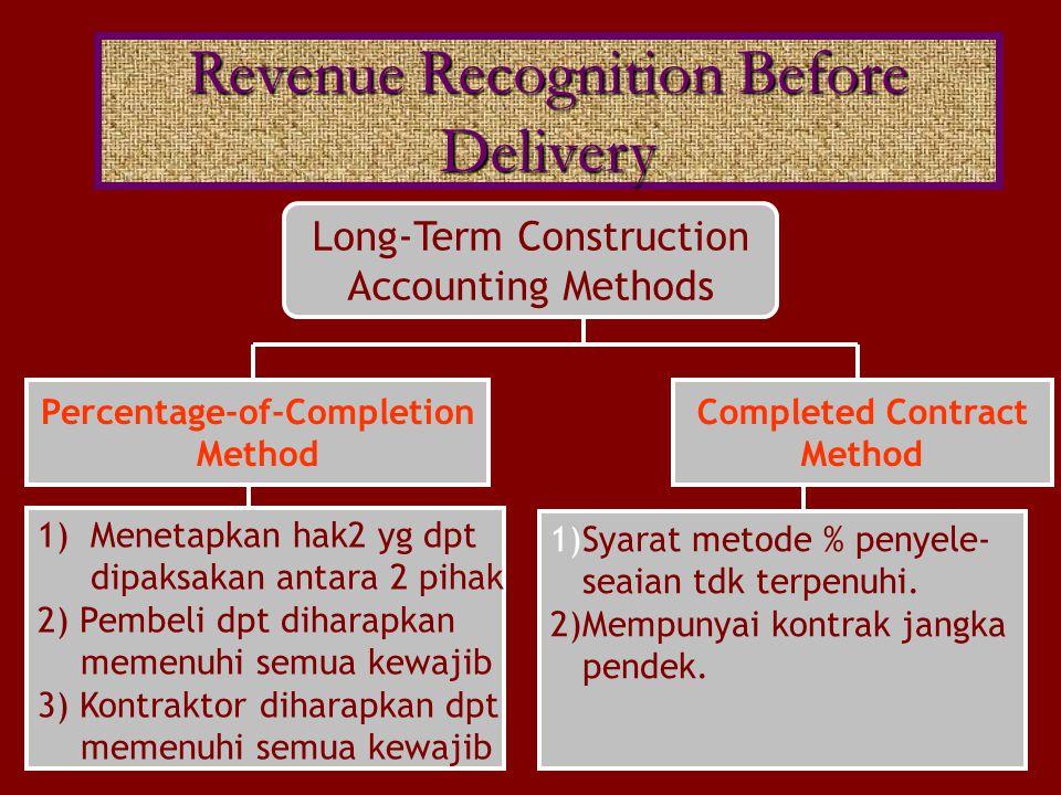 Long-Term Construction Accounting Methods 1)Menetapkan hak2 yg dpt dipaksakan antara 2 pihak 2) Pembeli dpt diharapkan memenuhi semua kewajib 3) Kontr