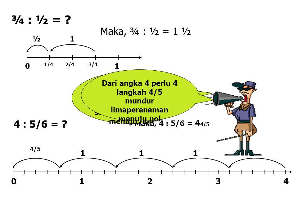 Dari peragaan pembagian pecahan dapat disimpulkan bahwa : 1 : ½ = 1 x 2/1 = 2 ¾ : ¼ = ¾ x 4/1 = 3 ¾ : ½ = ¾ x 2/1 = 1 ½ 4 : 5/6 = 4 x 6/5 = 4 4/5 KESIMPULAN Jadi, membagi dengan pecahan sama artinya dengan mengalikan dengan kebalikan pembaginya