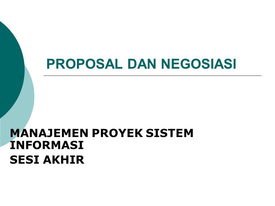 Proposal Sebuah proposal mempunyai 3 kegunaan, yaitu :  Berisi perkiraan tim proyek, mulai dari biaya proyek sampai dengan tanggal pengiriman proyek.