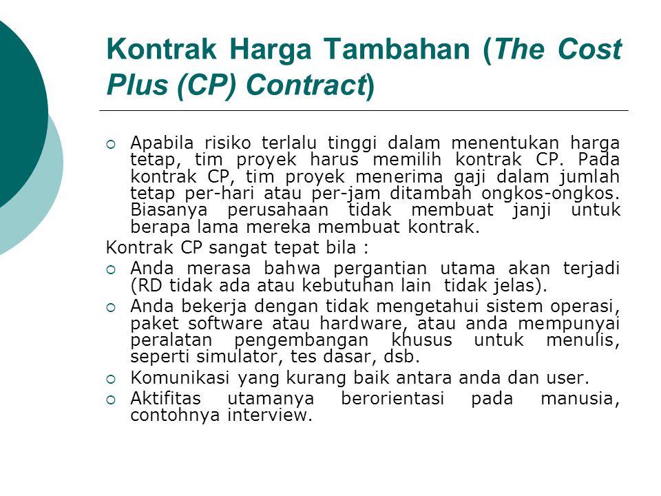 Kontrak Harga Tambahan (The Cost Plus (CP) Contract)  Apabila risiko terlalu tinggi dalam menentukan harga tetap, tim proyek harus memilih kontrak CP.