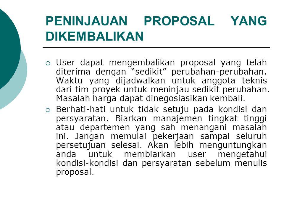 PENINJAUAN PROPOSAL YANG DIKEMBALIKAN  User dapat mengembalikan proposal yang telah diterima dengan sedikit perubahan-perubahan.