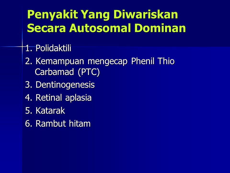 Penyakit Yang Diwariskan Secara Autosomal Dominan 1. Polidaktili 1. Polidaktili 2. Kemampuan mengecap Phenil Thio Carbamad (PTC) 2. Kemampuan mengecap