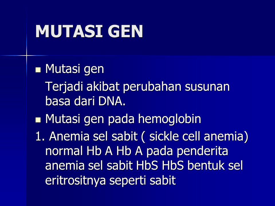 MUTASI GEN Mutasi gen Mutasi gen Terjadi akibat perubahan susunan basa dari DNA. Mutasi gen pada hemoglobin Mutasi gen pada hemoglobin 1. Anemia sel s