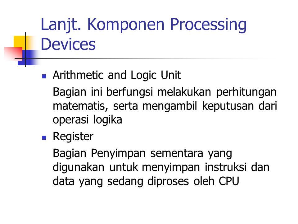 Lanjt. Komponen Processing Devices Arithmetic and Logic Unit Bagian ini berfungsi melakukan perhitungan matematis, serta mengambil keputusan dari oper
