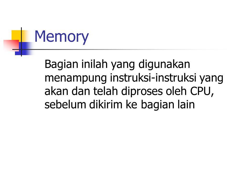 Memory Bagian inilah yang digunakan menampung instruksi-instruksi yang akan dan telah diproses oleh CPU, sebelum dikirim ke bagian lain