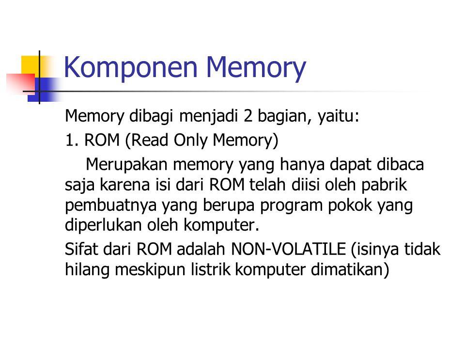 Komponen Memory Memory dibagi menjadi 2 bagian, yaitu: 1. ROM (Read Only Memory) Merupakan memory yang hanya dapat dibaca saja karena isi dari ROM tel