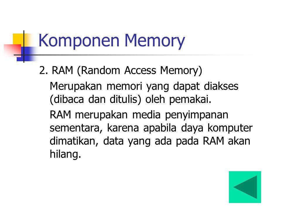 Komponen Memory 2. RAM (Random Access Memory) Merupakan memori yang dapat diakses (dibaca dan ditulis) oleh pemakai. RAM merupakan media penyimpanan s