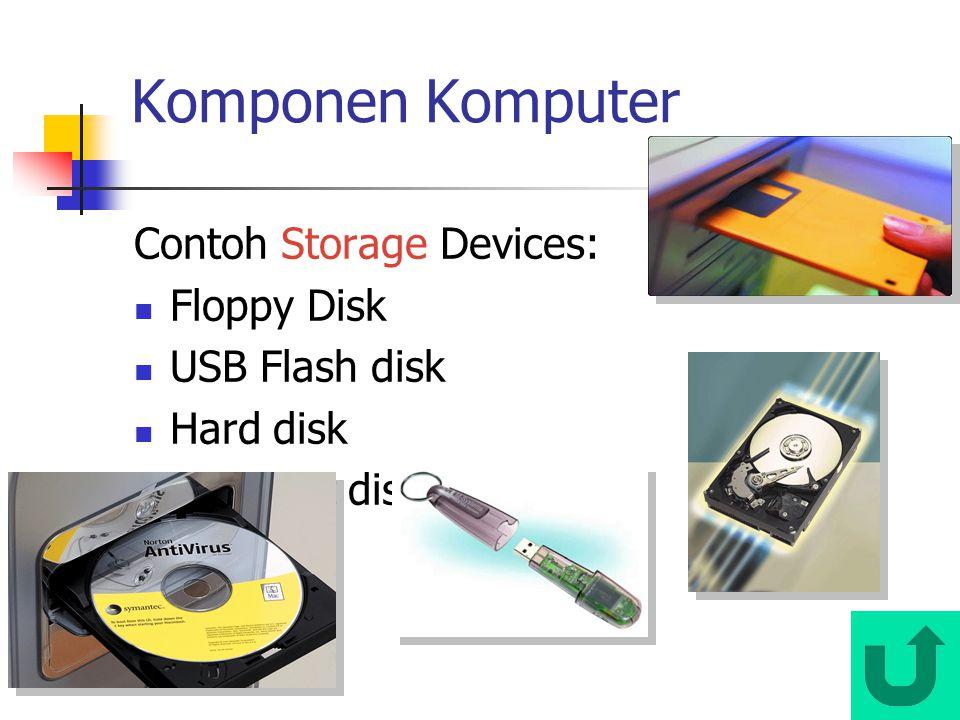 Komponen Komputer Contoh Storage Devices: Floppy Disk USB Flash disk Hard disk Compact disk