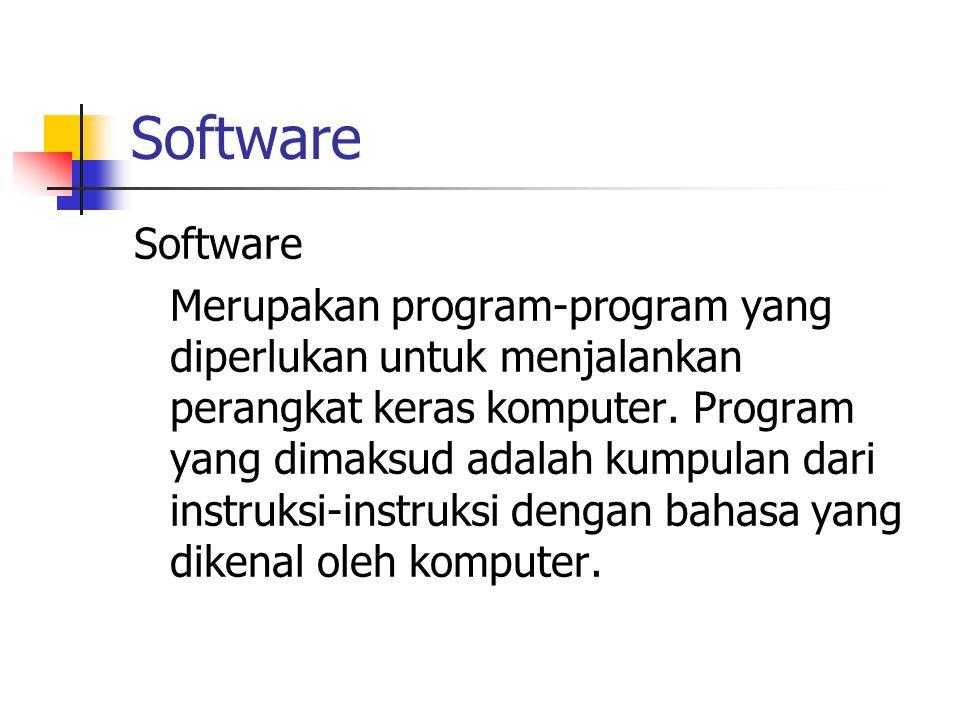 Software Merupakan program-program yang diperlukan untuk menjalankan perangkat keras komputer. Program yang dimaksud adalah kumpulan dari instruksi-in