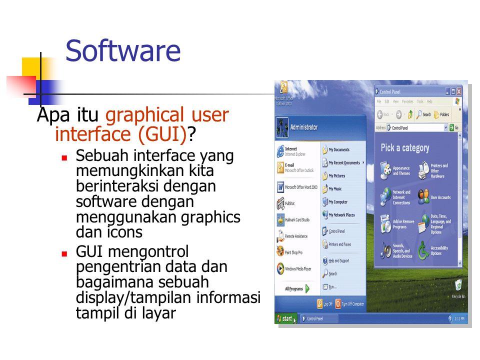 Software Apa itu graphical user interface (GUI)? Sebuah interface yang memungkinkan kita berinteraksi dengan software dengan menggunakan graphics dan
