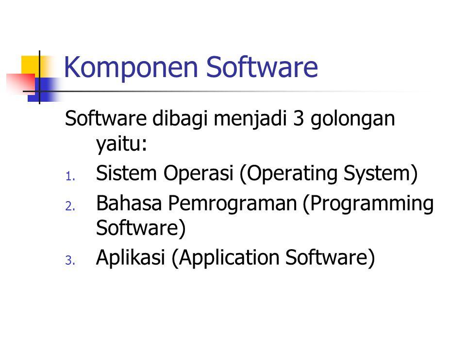 Komponen Software Software dibagi menjadi 3 golongan yaitu: 1. Sistem Operasi (Operating System) 2. Bahasa Pemrograman (Programming Software) 3. Aplik