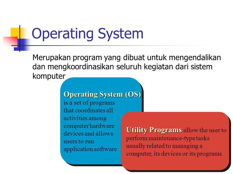 Operating System Merupakan program yang dibuat untuk mengendalikan dan mengkoordinasikan seluruh kegiatan dari sistem komputer Operating System (OS) O
