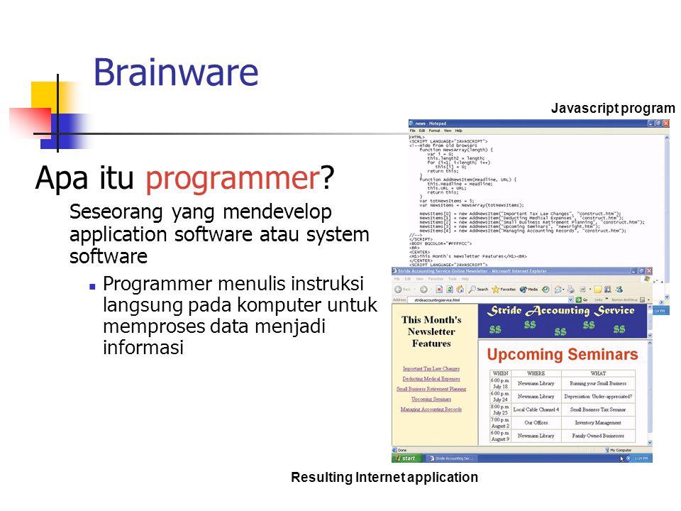 Brainware Apa itu programmer? Seseorang yang mendevelop application software atau system software Programmer menulis instruksi langsung pada komputer