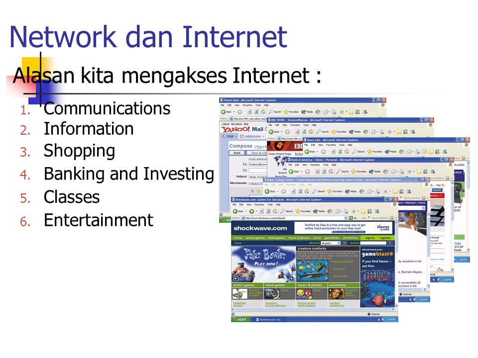 Network dan Internet Alasan kita mengakses Internet : 2. Information 3. Shopping 4. Banking and Investing 5. Classes 6. Entertainment 1. Communication